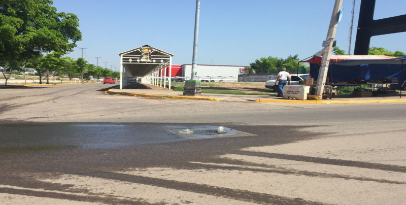 Fuga de agua por la calle Tarahumaras