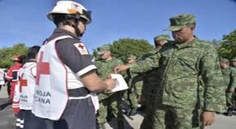 Dona personal militar más de 130 mil pesos a Cruz Roja