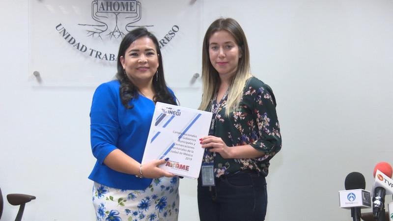 Ahome entrega Ahome, el catálogo de información sobre el Censo Nacional de Gobierno Municipal y Demarcaciones Territoriales 2019.