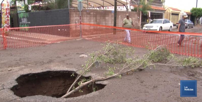 Aparecieron los hundimientos en algunas calles de Ciudad Obregón