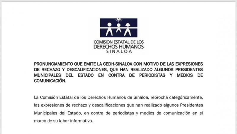 Comisión de Derechos Humanos reprocha expresiones de  rechazo y descalificación de alcaldes hacia periodistas y medios