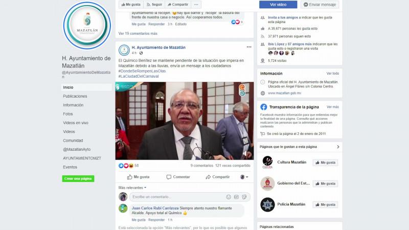 Tras las lluvias, emite el Químico mensaje, desde sus redes sociales