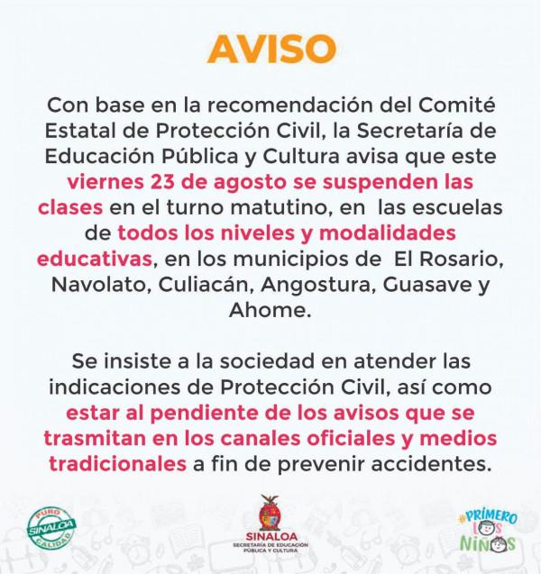 Sepyc suspende clases en 6 municipios de Sinaloa