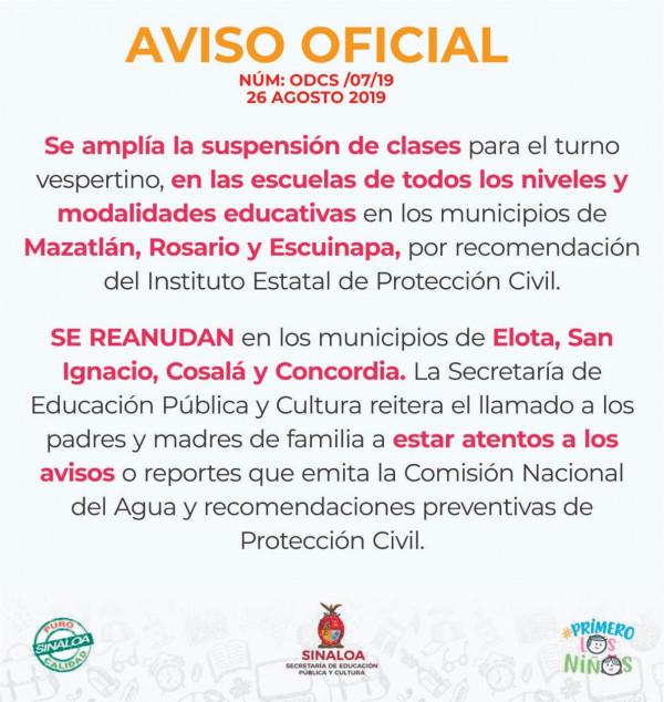 Se amplía suspensión de clases en 3 municipios del sur de Sinaloa