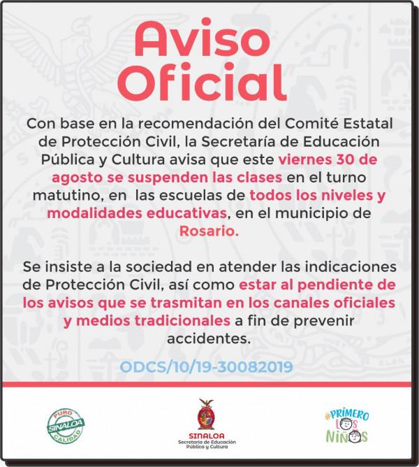Suspendidas las clases en Rosario