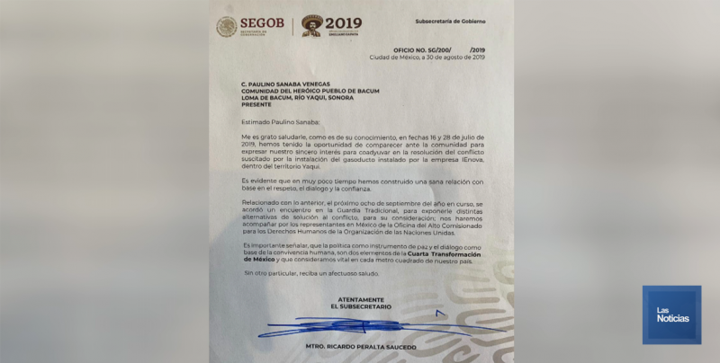 Yaquis de la Loma de Bácum se reunirán este domingo con Subsrio. de Gobernación