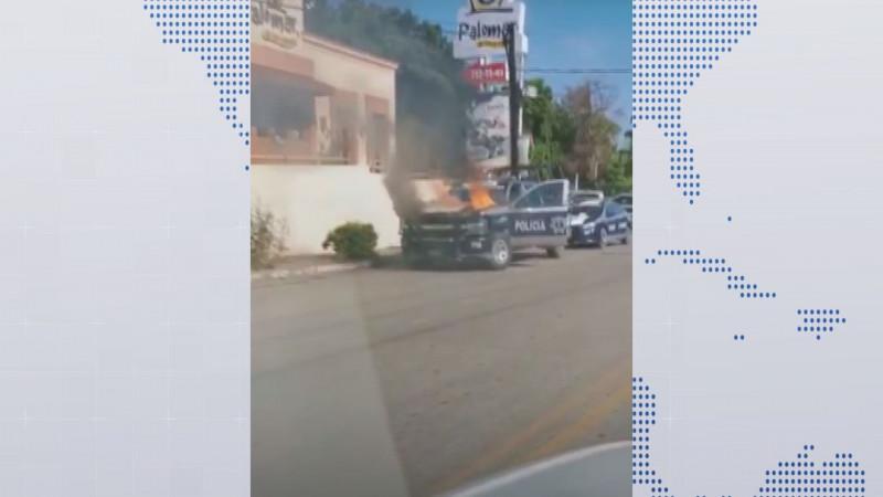 Se quema patrulla de la municipal