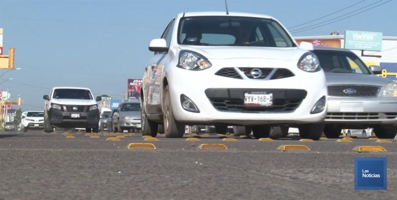 Se instalaron reductores de velocidad frente a la Central Camionera