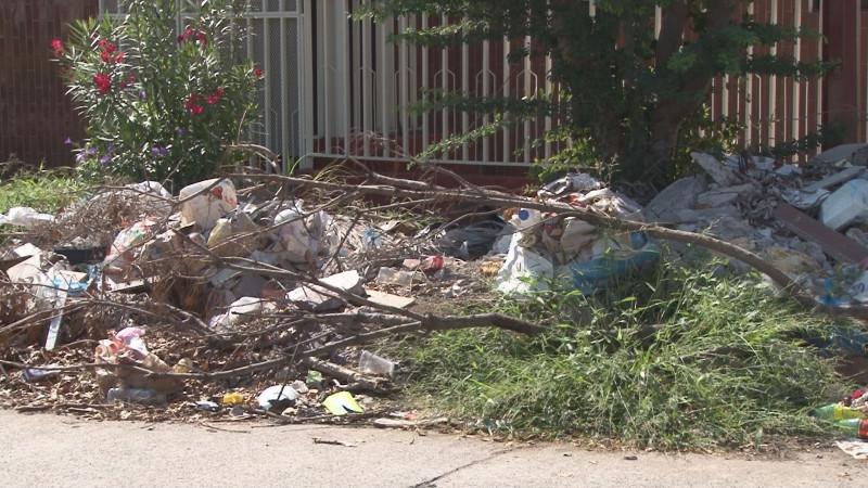 Montón de escombro invade calle en la colonia Las Vegas