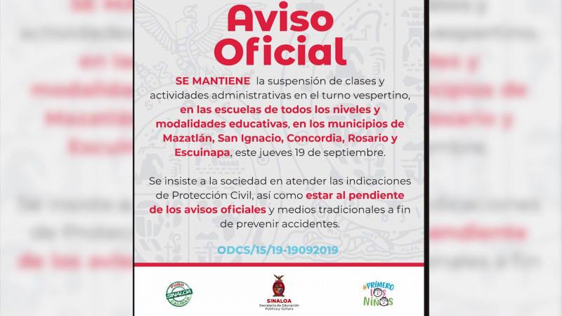 Se mantiene suspensión de clases en el sur de Sinaloa por 'Lorena'