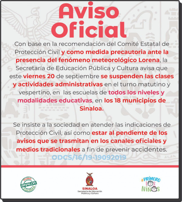 Se suspenden clases este viernes en todo Sinaloa