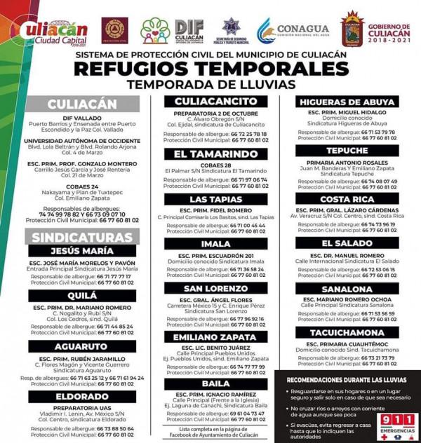 Listos los albergues en Culiacán