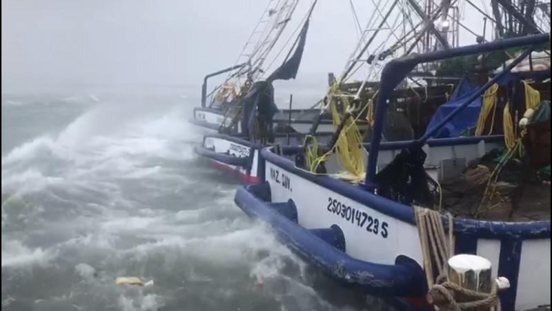 """Amarrados barcos en muelle ante los estragos de """"Narda"""""""