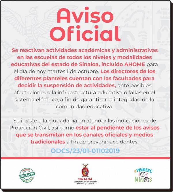 Se reanudan clases en todo Sinaloa
