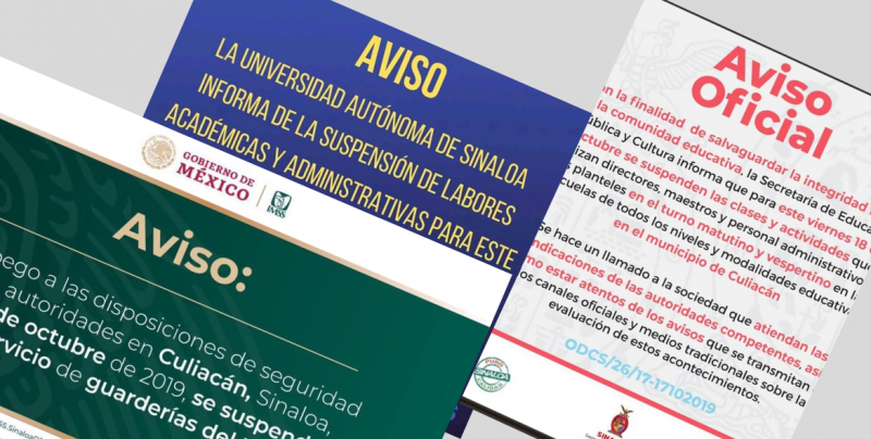 AVISO: Suspensión de Clases y Guarderías del IMSS en Culiacán