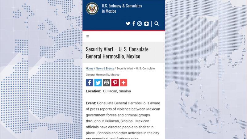 Emite alerta el Gobierno de EU a Sinaloa