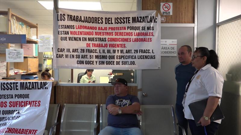 Trabajan bajo protesta sindizalizados del ISSSTE