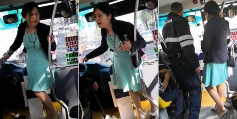 VIDEO: Mujer hace berrinche en el camión, la nombran #LadyTacones