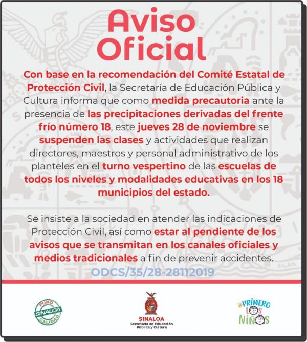SEPyC y UAS suspenden clases en todo Sinaloa