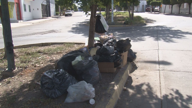 Bolsas de basura tapizan camellones y banquetas del Fraccionamiento Rancho Contento