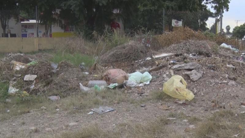 Área verde en el abandono y con basura