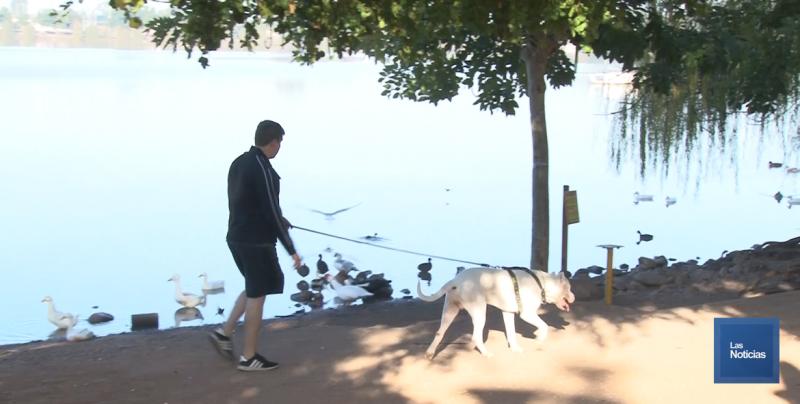 Pese al frío, cajemenses se ejercitan en la Laguna del Náinari