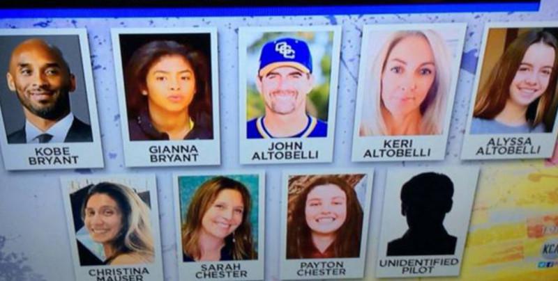 Identifican a las otras víctimas del accidente aéreo donde murieron Kobe Bryant y su hija