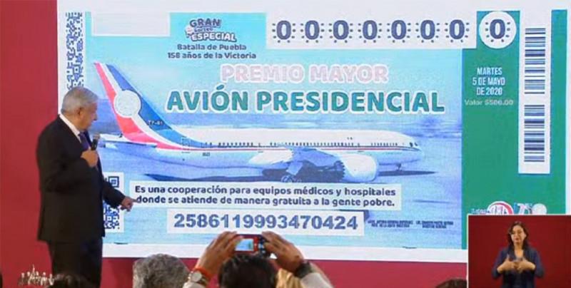 AMLO presenta diseño del boleto para rifa de avión presidencial