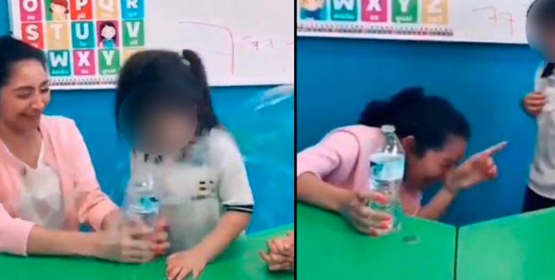 """VIDEO: Exhiben a maestra de kinder haciédole una """"broma"""" viral a su alumna"""