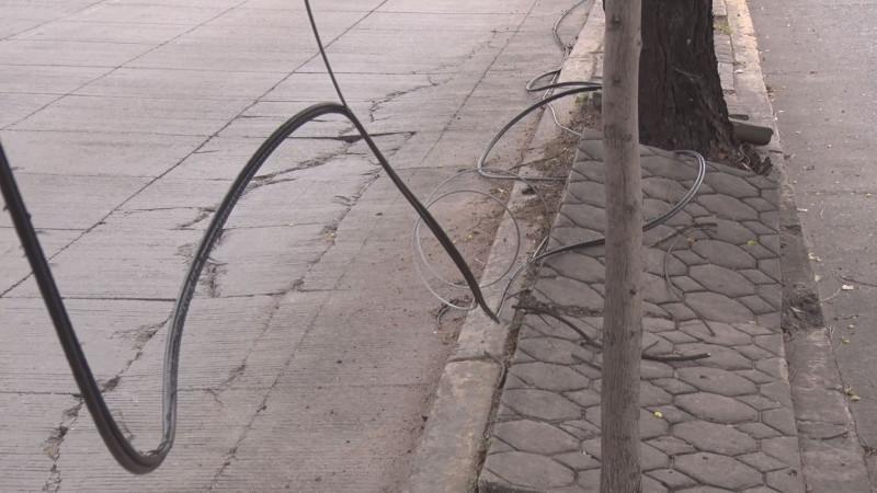 Siguen los cables tirados por camellón
