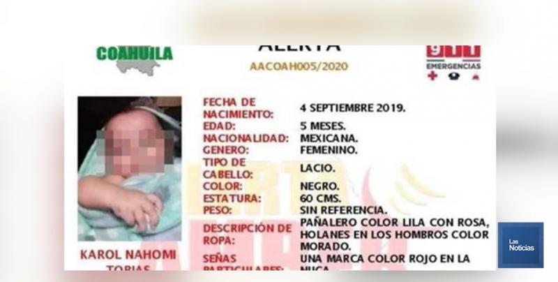 Las autoridades de Saltillo encontraron la mañana de este miércoles, el cuerpo sin vida de una bebé de solo 5 meses