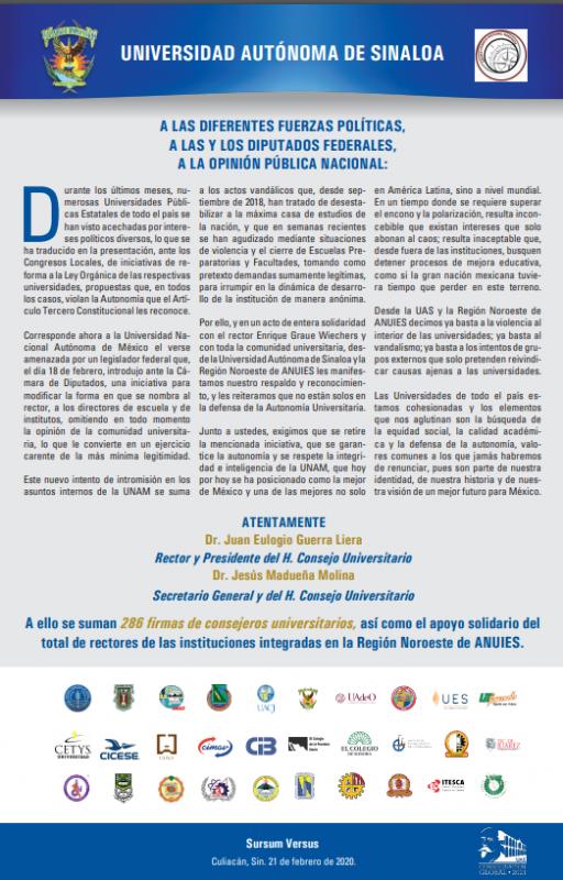 Se pronuncia la UAS por apoyo a la UNAM y la autonomía universitaria