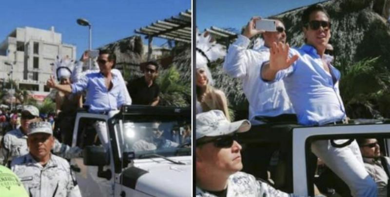 VIDEO: La Guardia Nacional escolta a Roberto Palazuelos en su paso por el carnaval de Yucatán