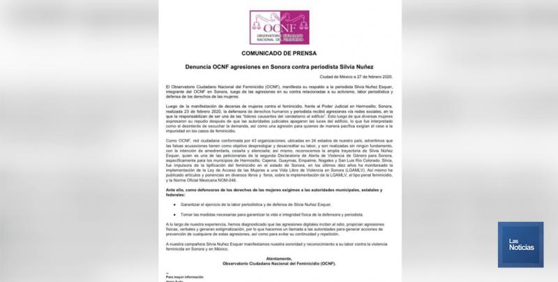 Respalda Observatorio Nacional del Feminicidio a Silvia Núñez Esquer