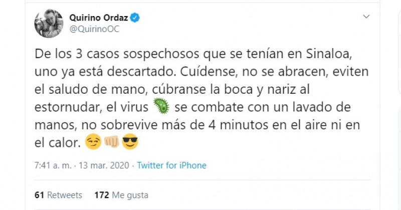 Quirino descarta una sospecha de coronavirus en Sinaloa