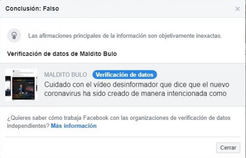 Facebook te avisa cuando una noticia de coronavirus es falsa