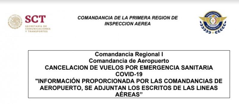 Cancelan vuelos en 21 ciudades. Entre ellas Mazatlán, Culiacán, Los Mochis y Obregón
