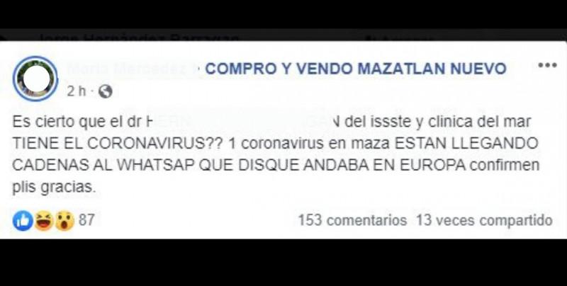 Piden no hacer caso a rumor sobre contagios masivos de Covid-19 en IMSS e ISSSTE de Mazatlán