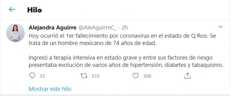 8vo fallecido por Coronavirus en México es de Cancún