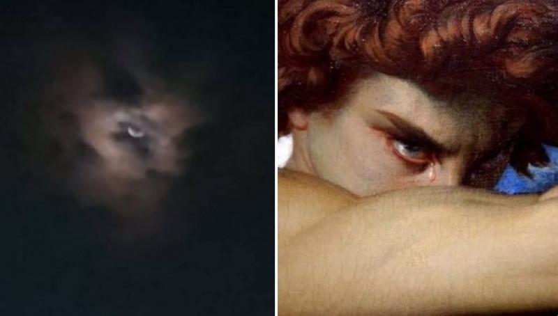 Internet entra en pánico ante el parecido de esta supuesta imagen de la última luna de marzo con pintura de Lucifer.