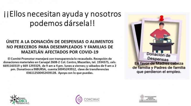 Consejo OSC de Sinaloa lanza campaña para crear y entregar despensas