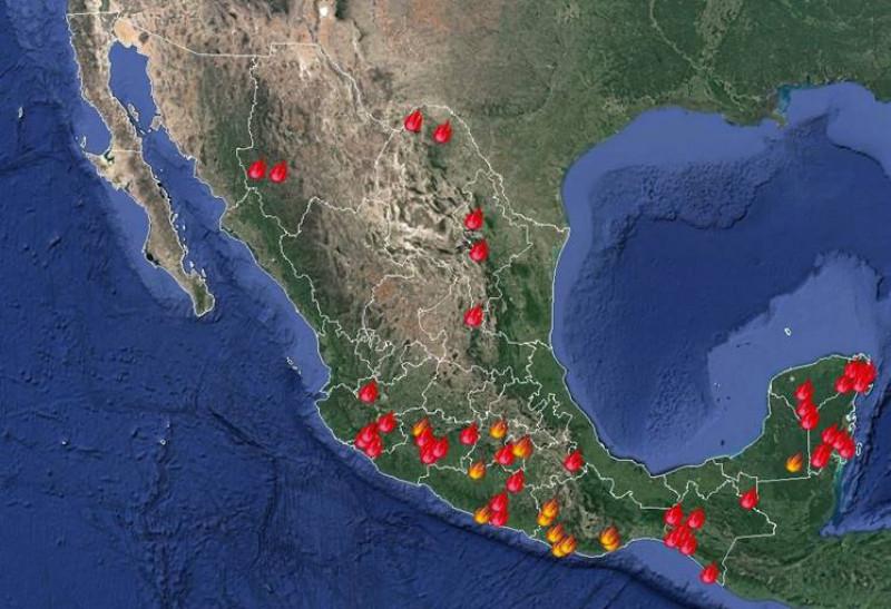 Se registran 61 incendios forestales activos
