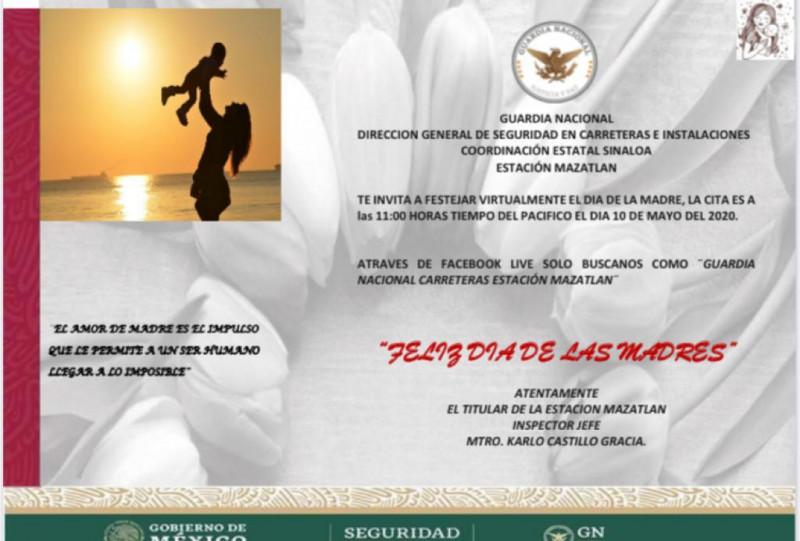 Guardia Nacional división caminos realizará festejo virtual a mamás