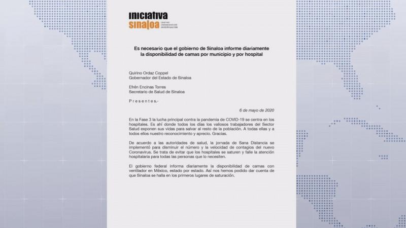 Pide Iniciativa Sinaloa saber la disponibilidad de camas por municipio