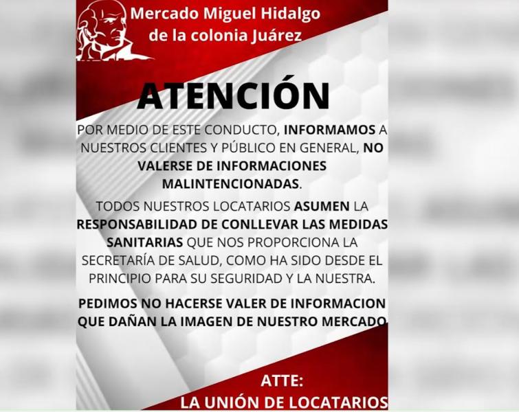 Mercado de la Juárez aclara rumores sobre contagios de COVID-19