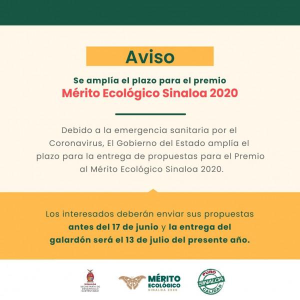 Amplían  plazo para  entrega de propuestas para el Premio al Mérito Ecológico Sinaloa