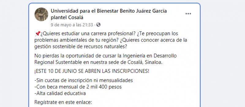 Universidad para el Bienestar plantel Cosalá abrirá inscripciones en junio