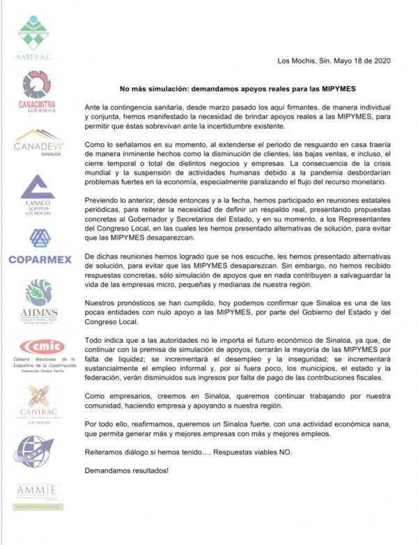 Empresarios urgen  apoyos reales para las MIPYMES