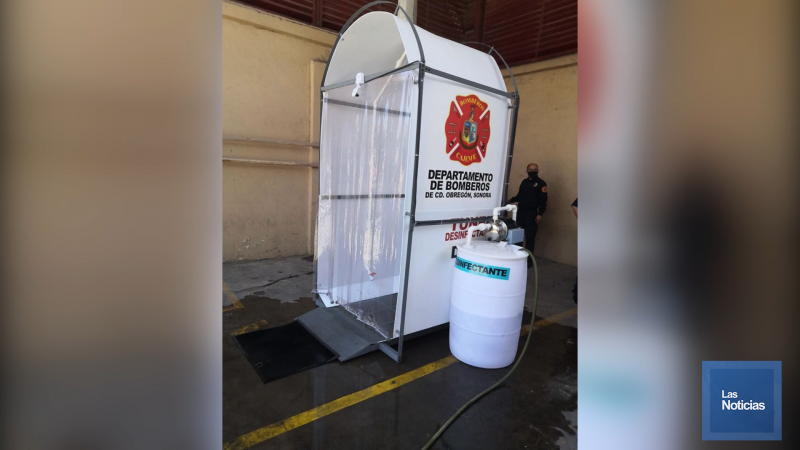 Cuenta bomberos de cajeme con tunel sanitizante