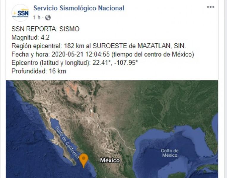 Servicio Sismológico Nacional reporta sismo al suroeste de Mazatlán